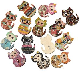 Aeoss Wooden Buttons Multicolored Cat Shaped 2 Holes Wood Printing Sewing Buttons for Sewing and Crafting DIY,Pack of 50