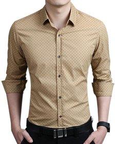 Black Bee Beige Cotton Printed Regular Fit Casual Shirt For Men
