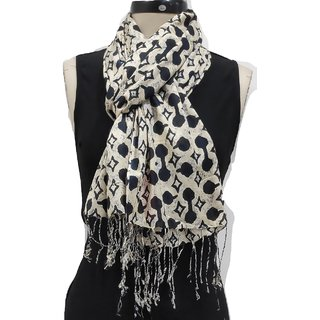 Monika Collection Beige Printed Rayon Soft Stole