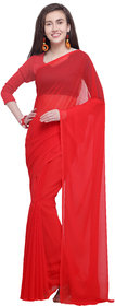 Anand Sarees Red Color Georgette Solid Plain Saree With Unstitched Blouse Piece (14662)
