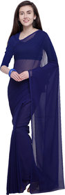 Anand Sarees Dark Blue Color Georgette Solid Plain Saree With With Blouse (Unstitched)