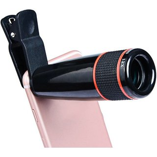Techvik Universal Compatible HD 12X Zooming Telescope All Mobile Phones Camera Fisheye Lens with Adjustable Clip Holder