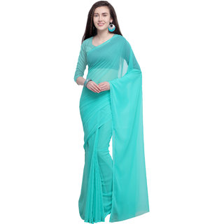Anand Sarees Sky Blue Color Georgette Solid Plain Saree With Unstitched Blouse Piece (14663)