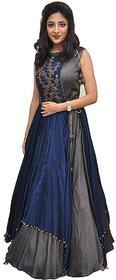 Saadhvi Grey Bangalore Silk Embroidered Semi Stitched Gown