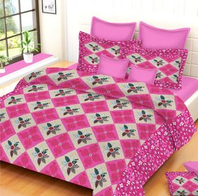 Cotton Double Bedsheet Floral Print with 2 Cordinate Pillow Cases (Size 90100 inches)
