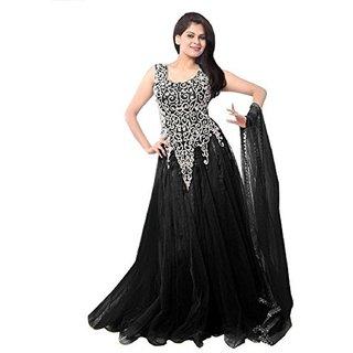 Saadhvi Black Net Embroidered Semi Stitched Gown