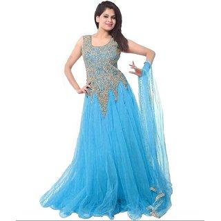 Saadhvi Sky Blue Net Embroidered Semi Stitched Gown