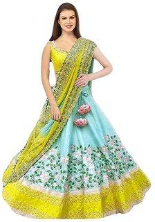 Saadhvi Turquoise Bangalore Silk Embroidered Lehenga Choli