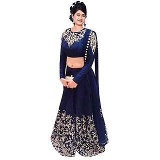 Saadhvi Women's Blue Raw Silk Lehenga Choli