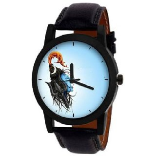 104 Light Blue Dial Uniq Mahadev Watch Strap Black Watch - For Men New Collection