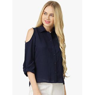 ddc242d548a28 Buy Fabrange Navy Blue Cold Shoulder Shirt Online - Get 77% Off