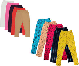 IndiWeaves Girls Cotton Solid 3/4th Capri and Printed Legging (Pack of 10)