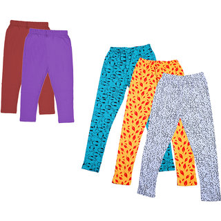 IndiWeaves Girls Cotton Solid 3/4th Capri and Printed Legging (Pack of 5)