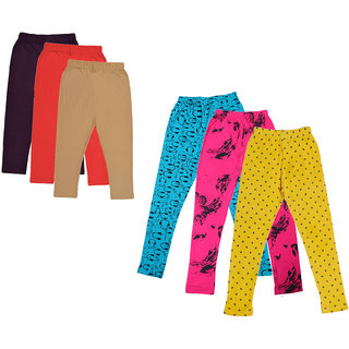 IndiWeaves Girls Cotton Solid 3/4th Capri and Printed Legging (Pack of 6)