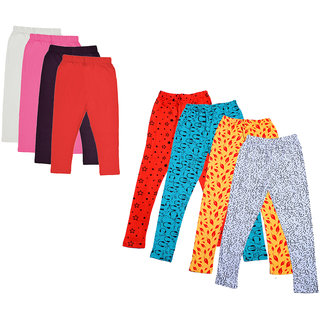 IndiWeaves Girls Cotton Solid 3/4th Capri and Printed Legging (Pack of 8)