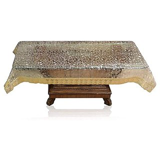 HomeStore-YEP High Quality Transparent Center Table Cover 4 Seater (Size - 40x60 Inches, Golden Lace)