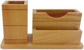 Gkart 3 Compartments Wooden Pen, Mobile  Visiting Card Holder (Wooden)