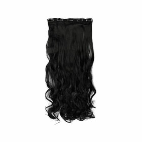 GaDinStylo Curly/Wavy Full Head Synthetic Fibre Clip In Hair Extensions, 26 Inches Natural Black