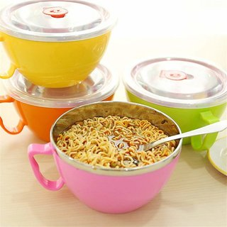 Pack Of 1 Stainless Steel Microwave Safe and BPA-free Noodles Bowl with Enclosed Handle Lid