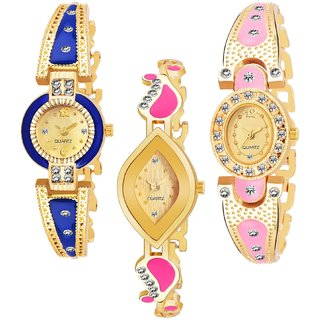 Varni Retail BlueGold Round Dial, Pink Gold Oval And Pink Gold Leaf Dial 3 Combo Watch For Girls