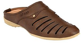 Goosebird Brown Synthetic PU Slip on Casual Sandals