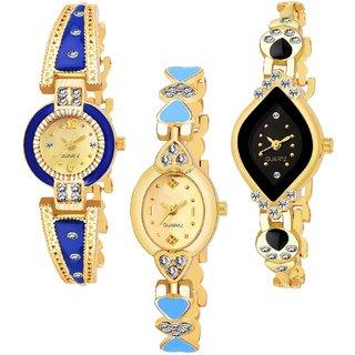 Varni Re.Gold Blue Round, Gold Light Blue Oval HartDesingBelt  Black Cross Rectangle UpDiamond 3 Combo Watch For Girls