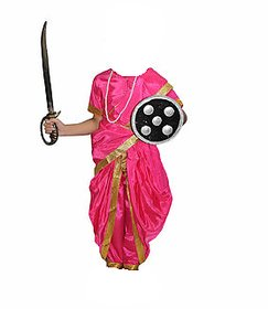 Rani Jhansi National Hero Costume With Accessories Fancy Dress For Kids