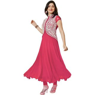 Florence Pink Georgette Embroidered Semi Stitched Salwar Suit