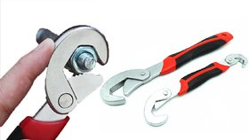 KunjZone 2pcs Multi-function Universal Quick Snap N Grip Adjustable Wrench Spanner Set 2