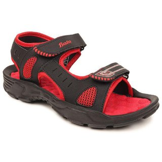 Bata Red Black Sandal For Men