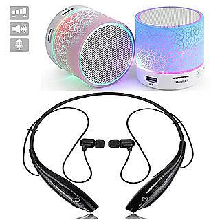 Combo of Two Set HBS-730 Neckband Wireless Bluetooth Headphone MINI Bluetooth Speaker