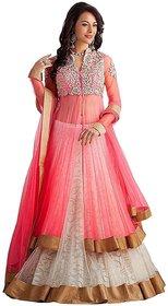 Saadhvi Pink Net Semi Stitched Embroidered Salwar Suit