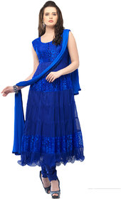 Saadhvi Blue Brasso Semi Stitched Embroidered Salwar Suit