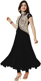 Saadhvi Black Georgette Semi Stitched Embroidered Salwar Suit