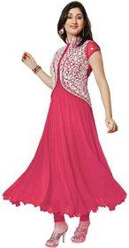 Saadhvi Pink Georgette Embroidered Semi Stitched Salwar Suit