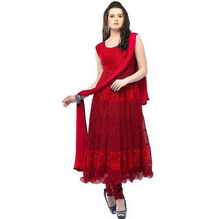Saadhvi Red Brasso Semi Stitched Embroidered Salwar Suit