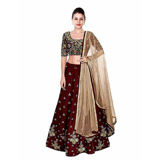 F Plus Fashion Maroon Color Heavy Embroidered Women's Semi Stitched Wedding Wear Lehenga Choli .