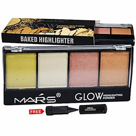 Mars Glow Highlighter Powder Palette 9466B-03 With Free Adbeni Kajal Worth Rs.125/