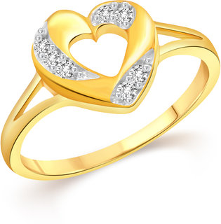 VK Jewels Heart Gold & Rhodium Plated Alloy CZ American Diamond Ring for Women & Girls [VKFR3259G8]
