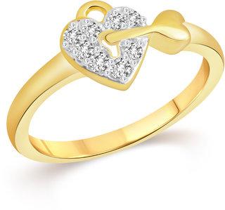 VK Jewels Heart Key Lock Gold & Rhodium Plated Alloy CZ American Diamond Ring for Women & Girls [VKFR3262G8]