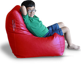 Style Homez Premium Leatherette L Bean Bag Chair Red Color, Cover Only
