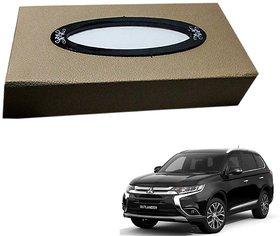 Auto Addict Car Tissue Beige Leatherite Box with 200 Sheets(100 Pulls) Vehicle Tissue Dispenser (Beige) For Mitsubishi Outlander