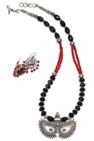 Itsy Bitsy Kolkata Black And Red german SIlver NEcklace/Jewellery Set