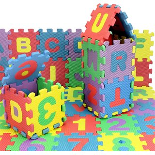 Alphabet and Numbers Foam Puzzle Play Mat, 36 Tiles (Each Tiles 12 X 12 Inch )