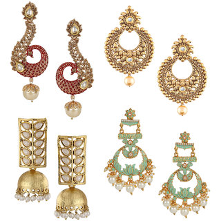 Om Jewells Gold Plated Jewellery Combo of 2 Designer Meenakari and 2 Traditional Ethnic Earrings for Girls CO1000216