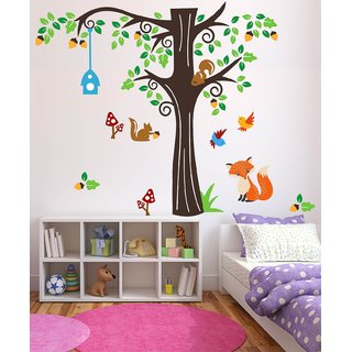 Asmi Collections Wall Stickers Large Tree Animals Birds for Kids Room - 5.6 Feet (H)