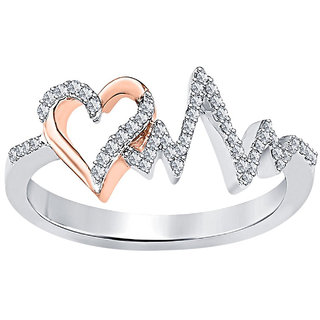 18K White Gold Fn CZ Sterling Silver Heart Beat Ring For Womens Girls Jewellery -6