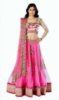 Saadhvi Pink Bangalore Silk Embroidered Semi-Stitched Lehenga Choli