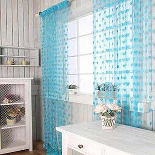HomeStore-YEP 1 Piece Polyester Heart Design Door Curtains, Size 7 x 4 FT, Sky Blue