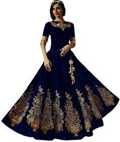 Saadhvi Blue Silk Embroidered Lehenga Choli